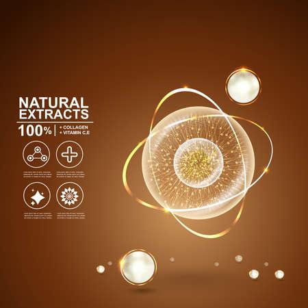 콜라겐 자연 추출 혈청과 비타민 배경 스킨 케어 화장품 개념입니다.