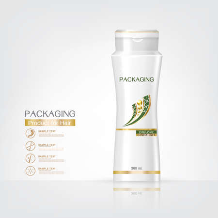 body wrap: Packaging products Hair Care design, shampoo bottle templates on White background