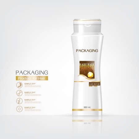 productos de belleza: Productos de embalaje de diseño cuidado del cabello, plantillas botella de champú en el fondo blanco