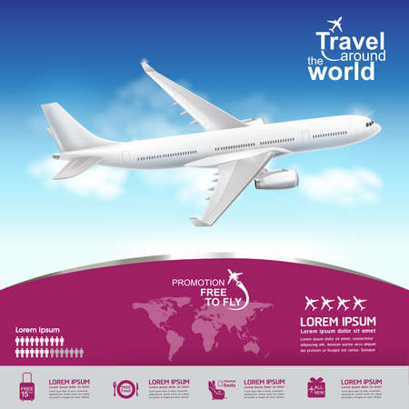 fly: Travel around the World Vector Concept Free to Fly.