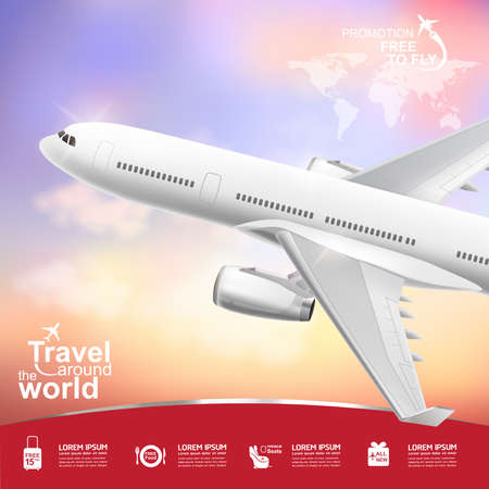 world heritage: Travel around the World Vector Concept Free to Fly.