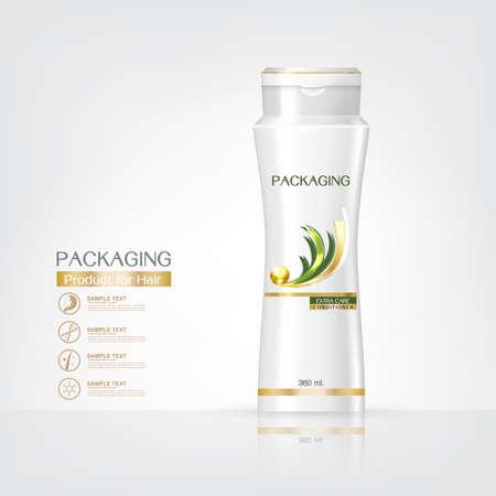 Productos de embalaje de diseño cuidado del cabello, plantillas botella de champú en el fondo blanco