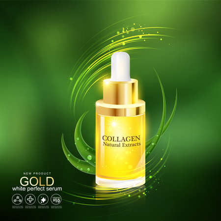 Gold Serum and Collagen Vector for Skin Care. Illustration