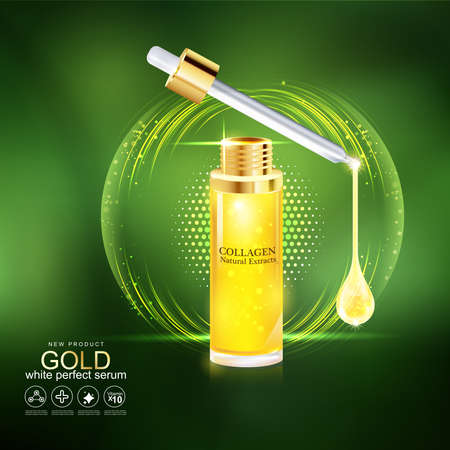 buttocks: Gold Serum and Collagen Vector for Skin Care. Illustration