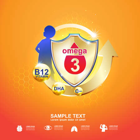 d mark: Omega and Vitamin for Kids Logo
