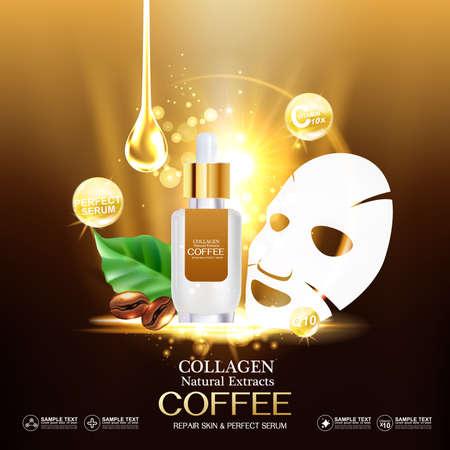 Collagen and Vitamin for Skin Concept, vector illustration.