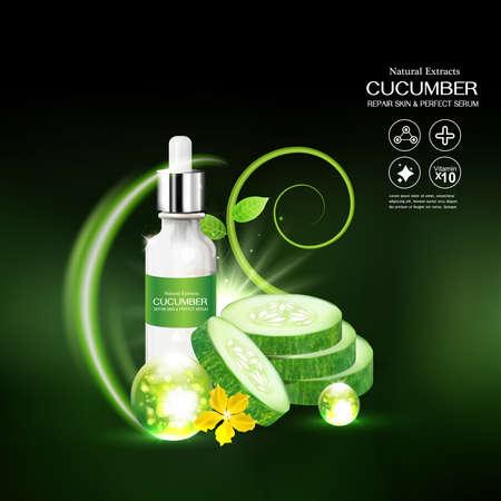 crinkle: Cucumber Serum Collagen and Vitamin for Skin Concept vector illustration.