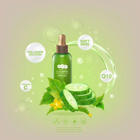 Cucumber Serum Collagen and Vitamin for Skin Concept vector illustration.