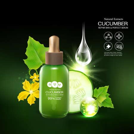 Cucumber Serum Collagen and Vitamin for Skin Concept vector illustration.