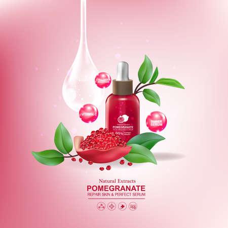 buttocks: Pomegranate Serum Collagen and Vitamin for Skin Concept vector illustration.