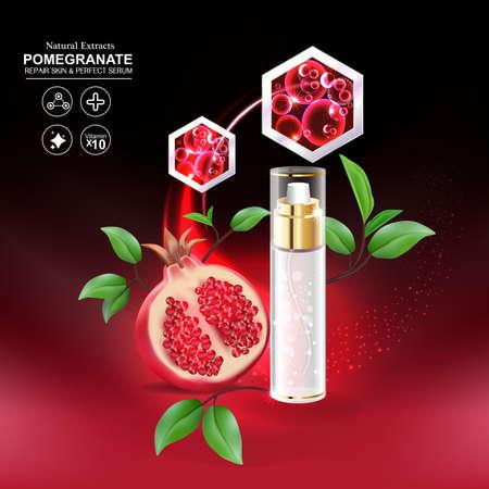 crinkle: Pomegranate Serum Collagen and Vitamin for Skin Concept vector illustration.