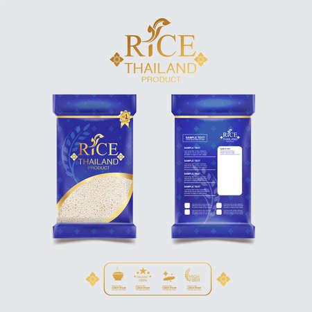 タイ タイ包装食品と背景ベクトル概念の芸術のコメ。