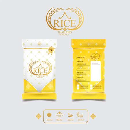 태국 쌀 포장 음식 제품 및 배경 벡터 개념 태국 예술입니다. 일러스트