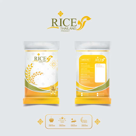 Rice of Thailand Packaging Food Product and Background Vector Concept Thai Arts. Stok Fotoğraf - 85204374