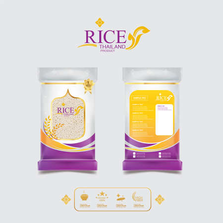 Rice of Thailand Packaging Food Product and Background Vector Concept Thai Arts.