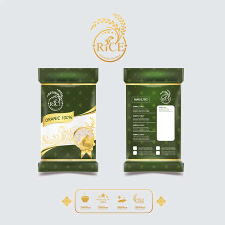 Rice of Thailand Packaging Food Product and Background Vector Concept Thai Arts. Reklamní fotografie - 85204393