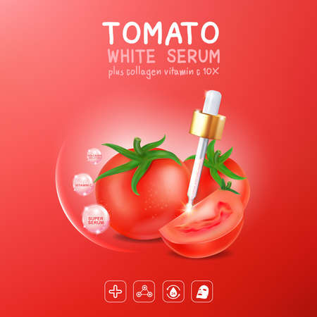 Collagen Serum Tomato Extract and Vitamin for Skin Background Concept Skin Care Cosmetic. Illustration