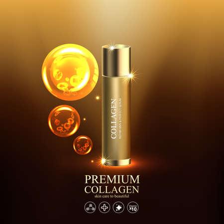 피부 관리 제품을위한 콜라겐 또는 세럼 및 비타민 벡터.