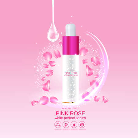 Rose Collagen Solution Serum and Vitamin Pink Background for Skin Care Cosmetic concept.
