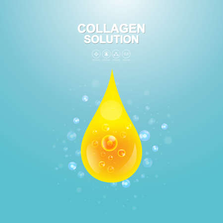buttocks: Collagen Solution Serum Drop and Vitamin Background Skin Care Cosmetic concept.