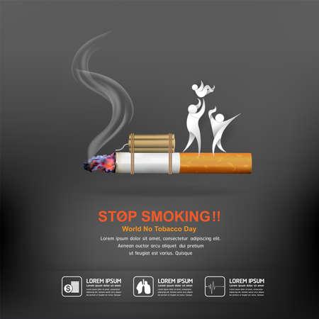 Cartel del concepto del vector del día del mundo del no tabaco Deje la plantilla que fuma.