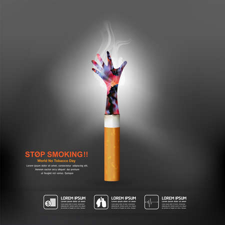 World No Tobacco Day Vector Concept Poster Stop Smoking Template.