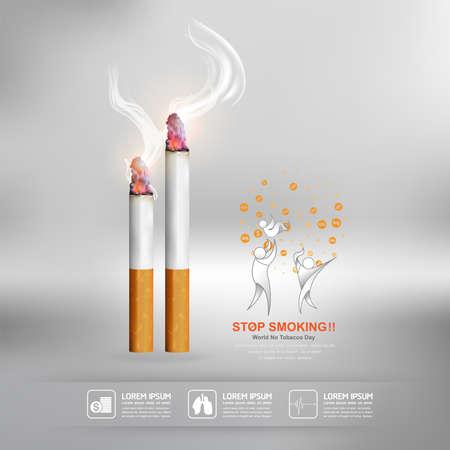World No Tobacco Day Vector Concept Poster Stop Smoking Template.