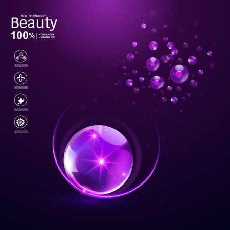 Collageen Serum en vitamine Achtergrond Concept Huidverzorging Cosmetica. Stockfoto - 98889502