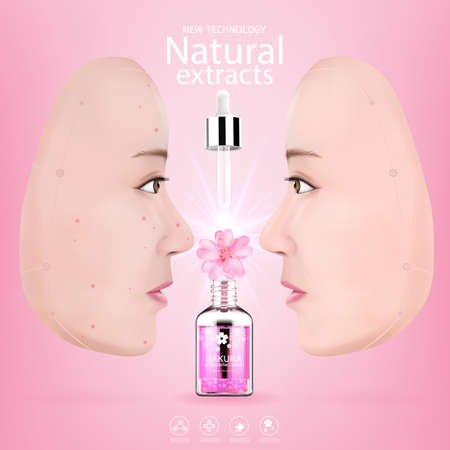 Collagen Sakura Serum and Vitamin Background Concept Skin Care.