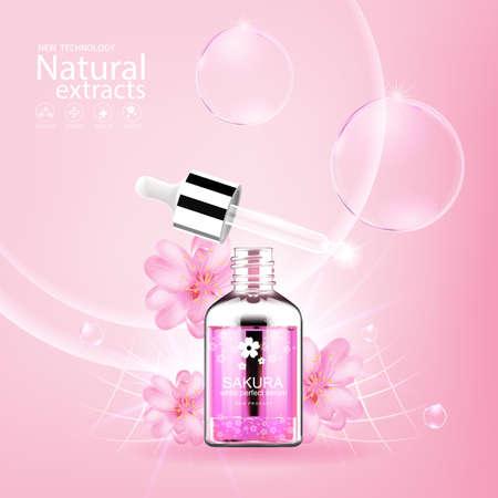 Collagen Sakura Serum and Vitamin Background Concept Skin Care.