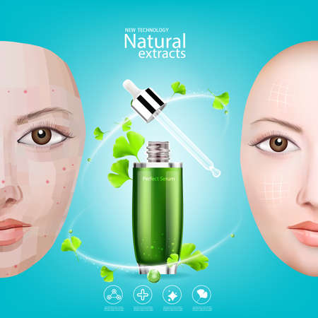 Collagen Serum and Vitamin Background Concept Skin Care.