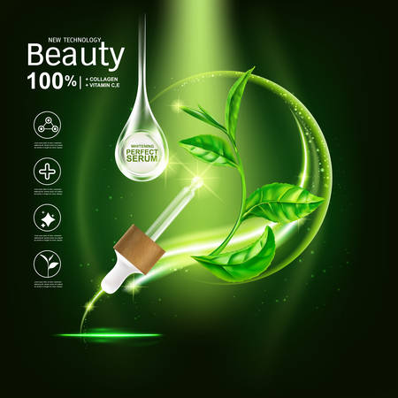 Collagen Serum and Vitamin Extract With Green tea leaf. Background for Skin Care Products.
