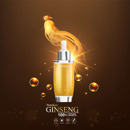 Collagen serum and vitamin background concept ginseng skin care cosmetic. Stock Illustratie