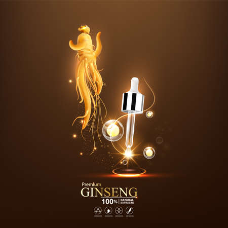 Collagen serum and vitamin background concept ginseng skin care cosmetic. 일러스트