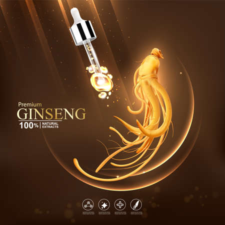 Collagen serum and vitamin background concept ginseng skin care cosmetic.  イラスト・ベクター素材