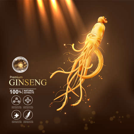 Collagen serum and vitamin background concept ginseng skin care cosmetic. Ilustracja