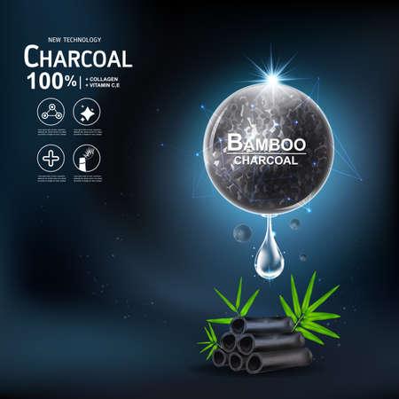 Sérum de collagène et extrait de vitamine Charbon de bois Bambou Vector Concept Soins de la peau Cosmétique.