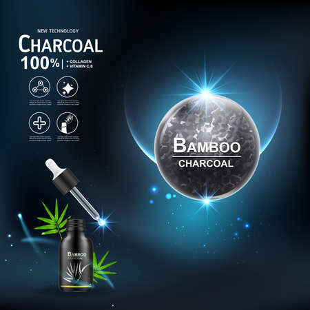Collagen Serum and Vitamin Extract Charcoal Bamboo Vector Concept Skin Care Cosmetic.