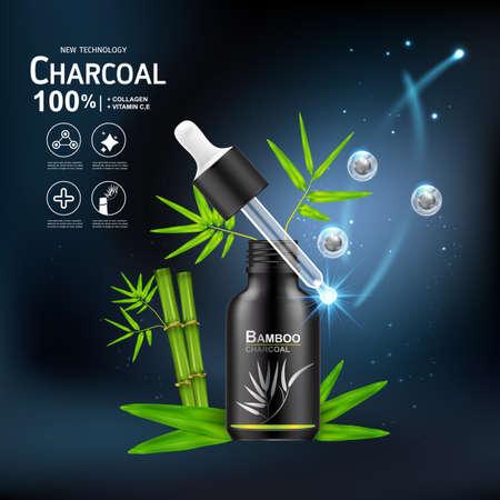 Collageen Serum en Vitamine Extract Houtskool Bamboe Vector Concept Huidverzorging Cosmetica. Stockfoto - 99701425