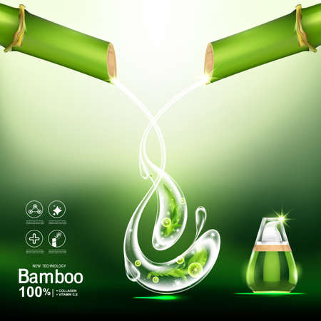 Bamboo Collagen Serum and Vitamin Background for Skin Care Cosmetic Products.