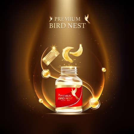 Bird Nest Premium achtergrond Concept Vector voor producten. Vector Illustratie