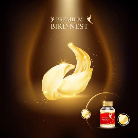 Vector de concepto de fondo premium de nido de pájaro para productos.