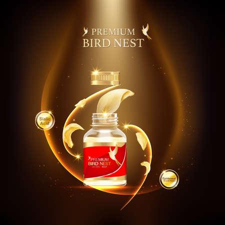 Vector de concepto de fondo premium de nido de pájaro para productos. Ilustración de vector