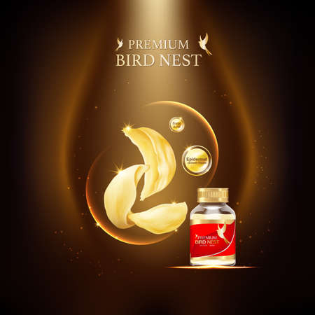 Bird Nest Premium achtergrond Concept Vector voor producten.