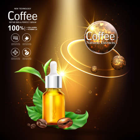 Collagen Serum and Vitamin Background Concept Skin Care Cosmetic. 矢量图像