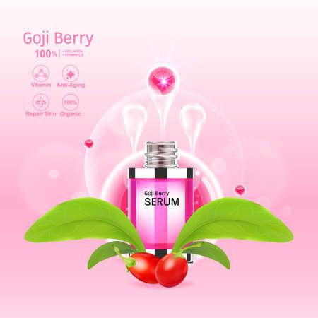 Goji Berry Collagen Serum and Vitamin Background Concept Skin Care Cosmetic.