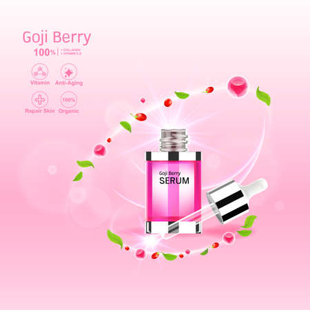 Goji Berry Collagen Serum and Vitamin Background Concept Skin Care Cosmetic.