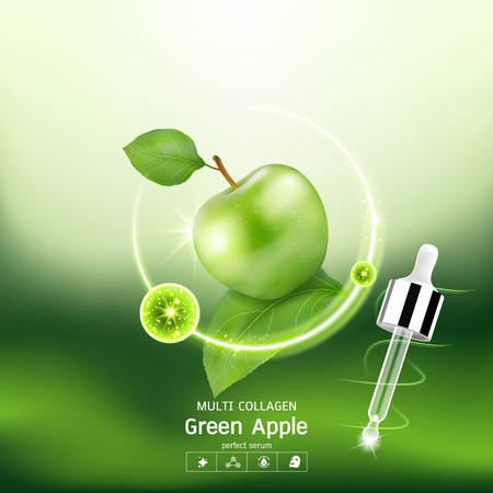 Green Apple Collagen Serum and Vitamin Background Concept Skin Care Cosmetic. 矢量图像