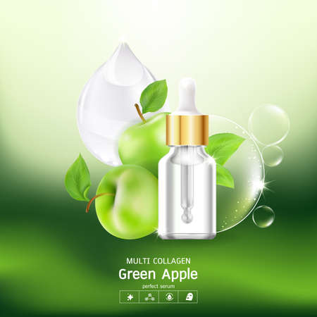 Green Apple Collagen Serum and Vitamin Background Concept Skin Care Cosmetic. Ilustracja
