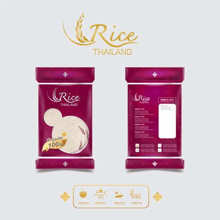Rice Thailand food Logo Produit et arrière-plan Arts thaïlandais. Logo